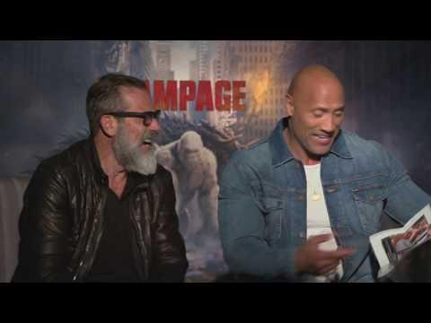 The Rock laughs at a skinny photo of himself, Jeffrey Dean Morgan, Rampage, John Cena