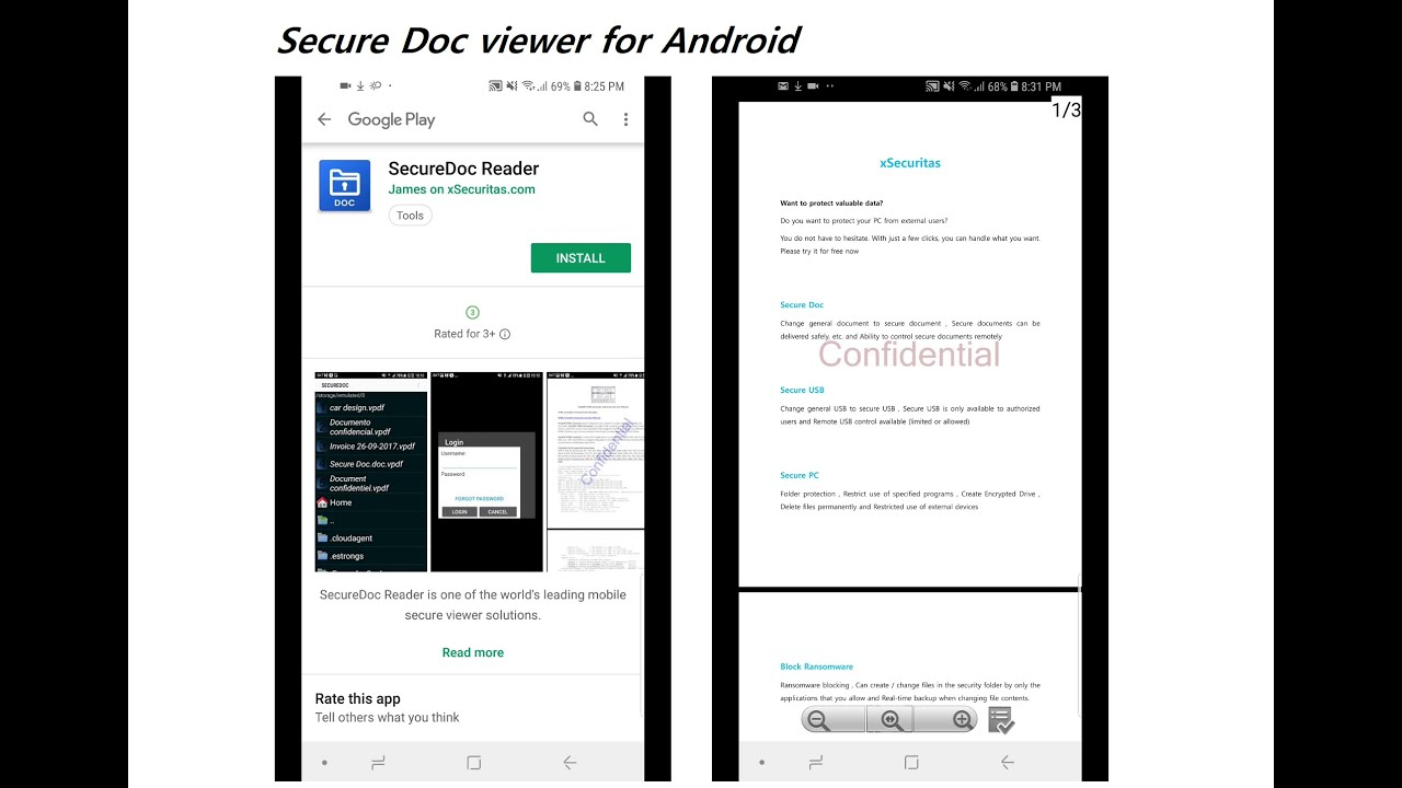 Tutorial of android viewer for xSecuritas's Secure Document Product