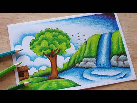 วาดรูปธรรมชาติ น้ำตก (สีไม้)   How to draw waterfall with colour pencil