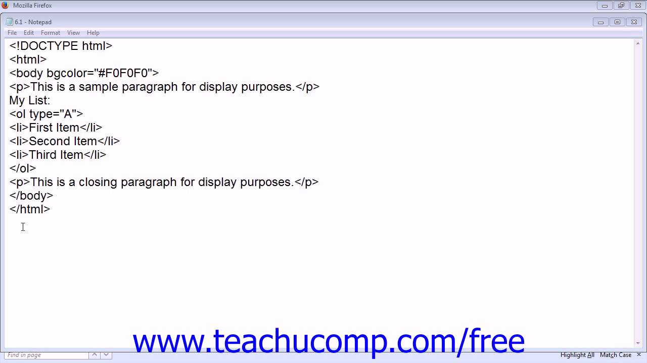 Ordered Lists in HTML5 - Tutorial - TeachUcomp, Inc