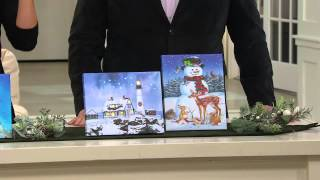 Illuminart Set Of 2 Christmas Canvas Art W/ Built-in Easel With Lisa Robertson