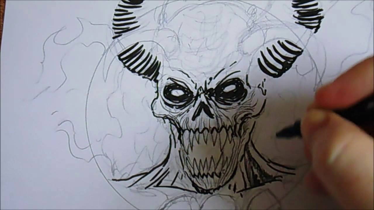 Drawing A Demon Devil With Just Ink Pens - YouTube