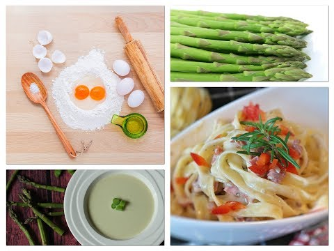 Asparagus Soup with Caramelized Pecan- Homemade Pasta with Proscuitto