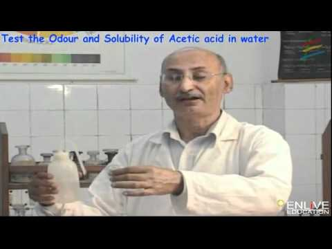 Test The Odour And Solubility Of Acetic Acid In Water