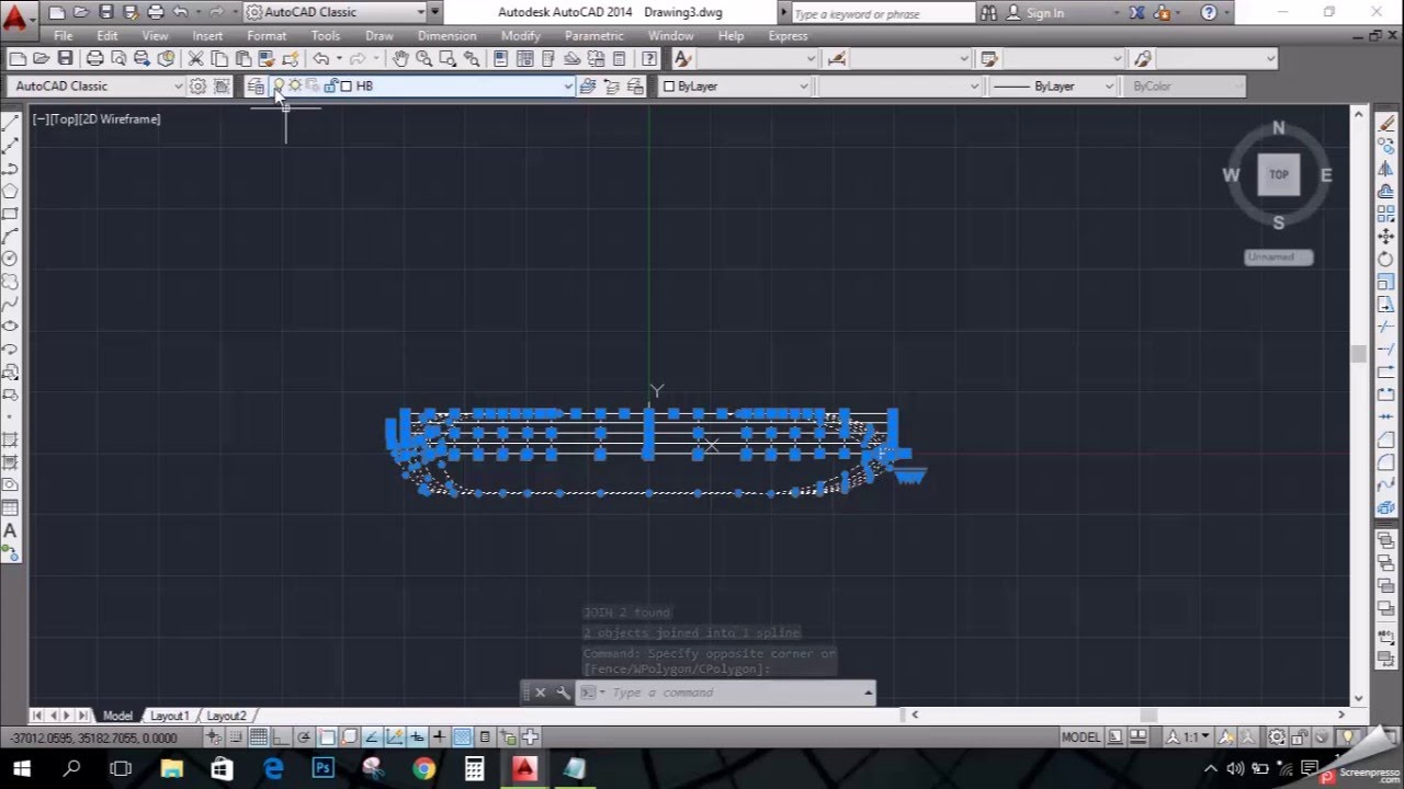 Line Drawing In Autocad : How to draw a d ship in autocad from lines youtube