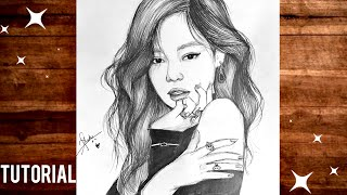 Drawing Blackpink Jennie (Pencil Sketch) How to draw Blackpink Jennie  Step by Step Tutorial
