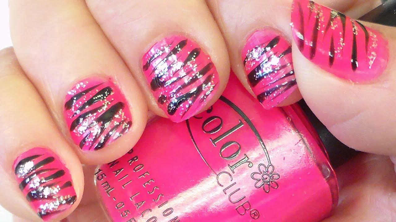 Pink and black zebra stripes nail art tutorial youtube prinsesfo Images