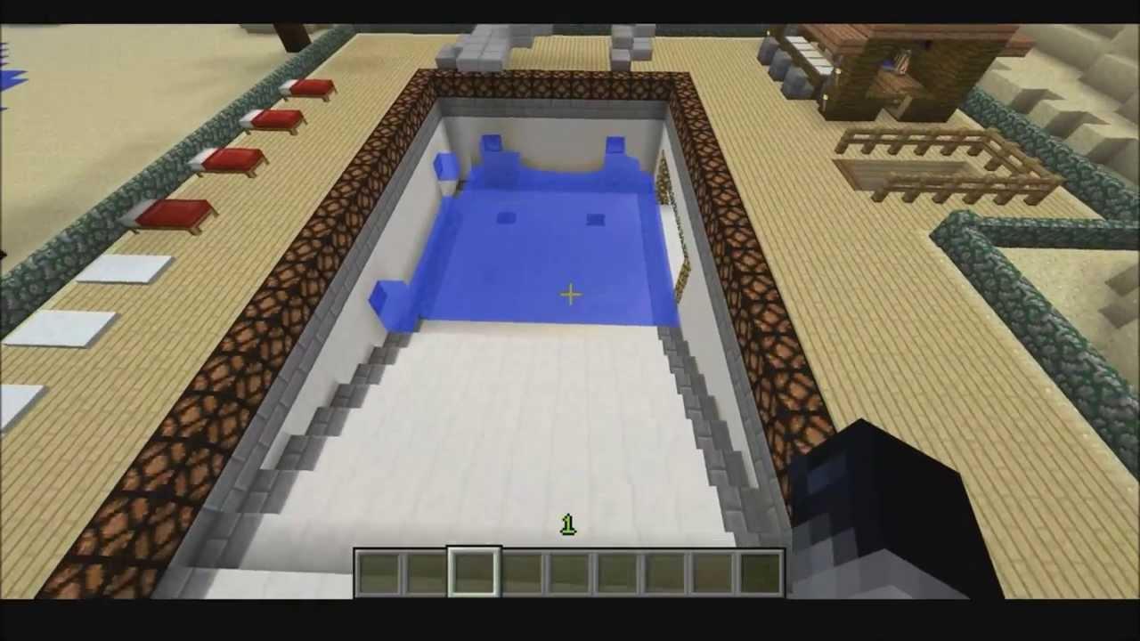 Pool That FillsDrains Itself Using Redstone Minecraft