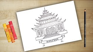 How to draw a Temple | buddhist temple | temples in India | chant