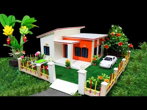 How to make a Beautiful Dreamhouse  - Cardboard and Popsicle Architechture Design - Easy crafts