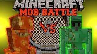 LAVA MONSTER VS. EMERALD GOLEM - Minecraft Mob Battles - Golem World and Lava Monster Mods