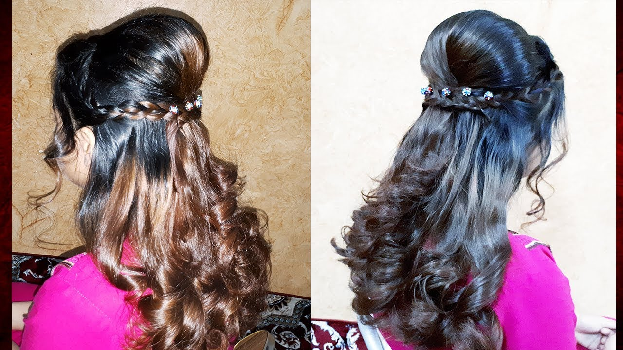 easy party hairstyle with curls tutorial   party hairdo / prom hairstyles