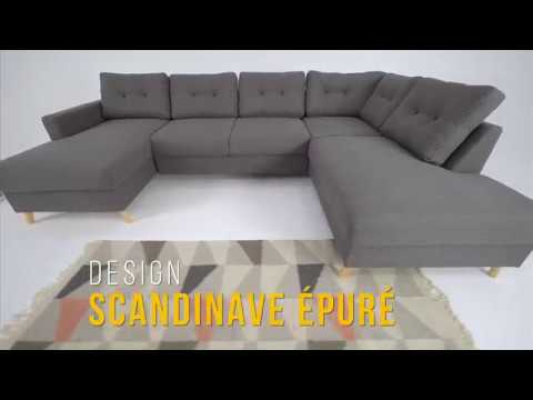 canap scandi panoramique convertible coffre bobochic youtube. Black Bedroom Furniture Sets. Home Design Ideas