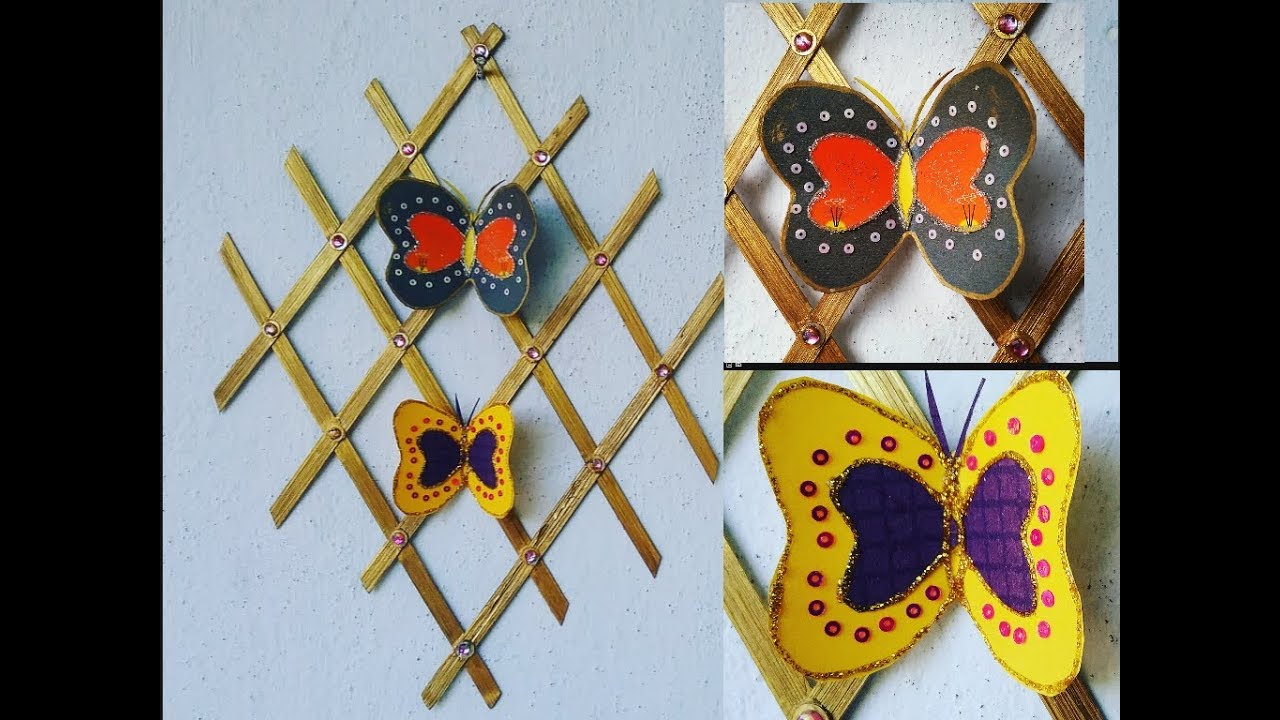 How to make wall decor at home from bamboo sticks origami how to make wall decor at home from bamboo sticks origami butterflies l diy wall decor ideas l amipublicfo Choice Image