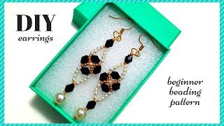 diy earrings. beginner beading pattern. beaded earrings