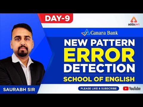 NEW PATTERN ERROR DETECTION | Canara Bank | Day 9 | School of English | Saurabh Sir - 4:45 P.M.