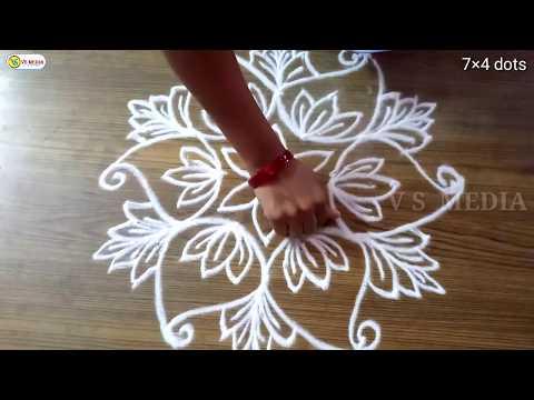 easy-and-simple-flower-rangoli-with-7×4-dots- -rangoli- -chukkala-muggulu- -kolam- -padi-kolam