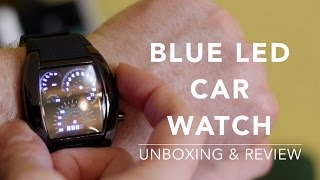 $4 BLUE LED CAR DIGITAL WATCH WITH ARCH DIAL AND SILICON STRAP FROM GEARBEST.COM