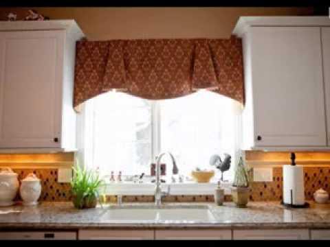 Kitchen window valance decorating ideas - YouTube