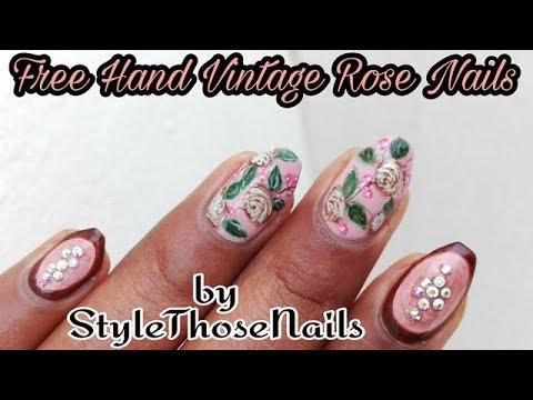 Vintage Roses Nail Tutorial | Rose Nail Art | Floral Nails