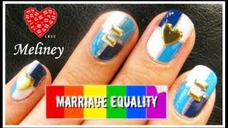 studded nail art design to support marriage equality   easy blue taped tutorial manicure australia
