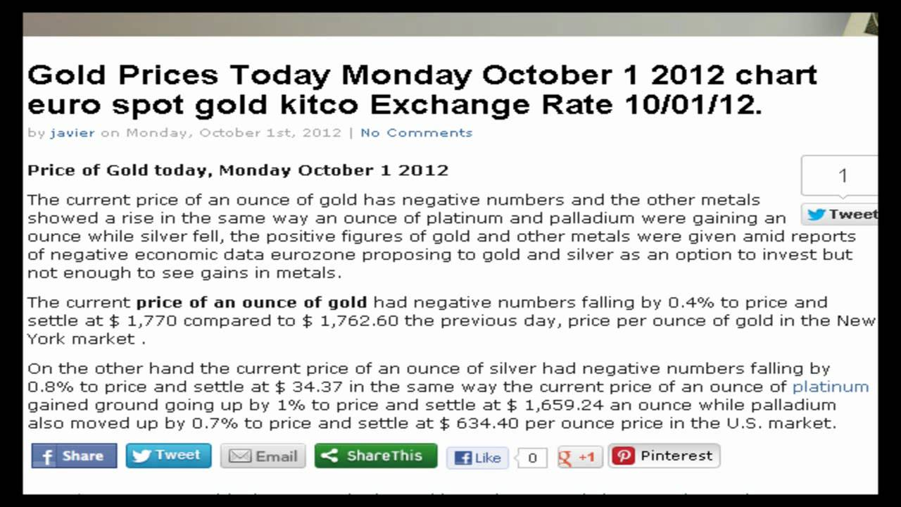Gold Exchange Rates Prices Ounce Gram Today Monday October 1 2017