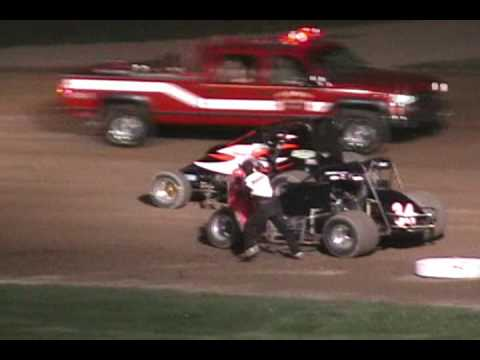 Tony Elliott Neil Shepard Crash and Fight From Gas City I 69 Speedway 2007