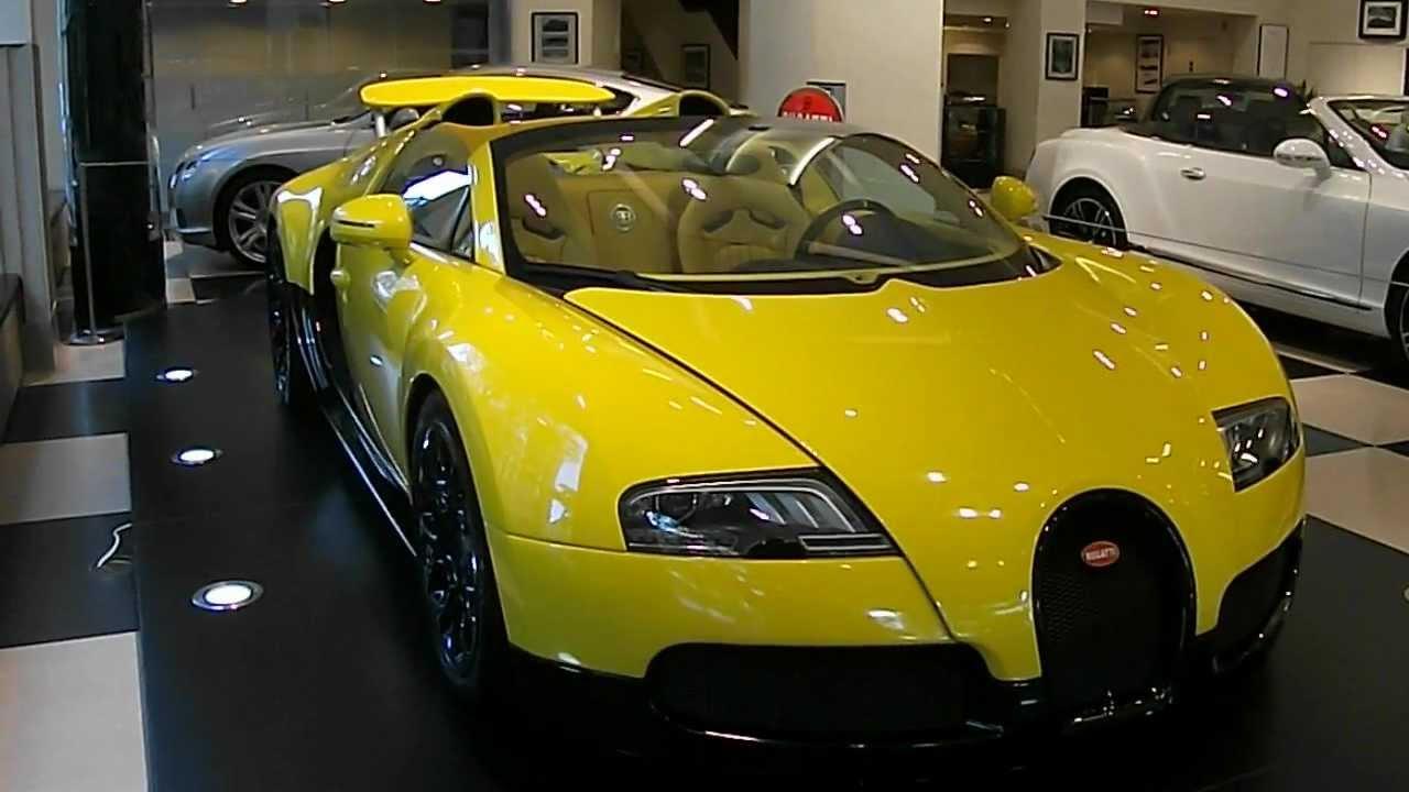 yellow bugatti veyron grand sport in jack barclays showroom berkeley square london on. Black Bedroom Furniture Sets. Home Design Ideas