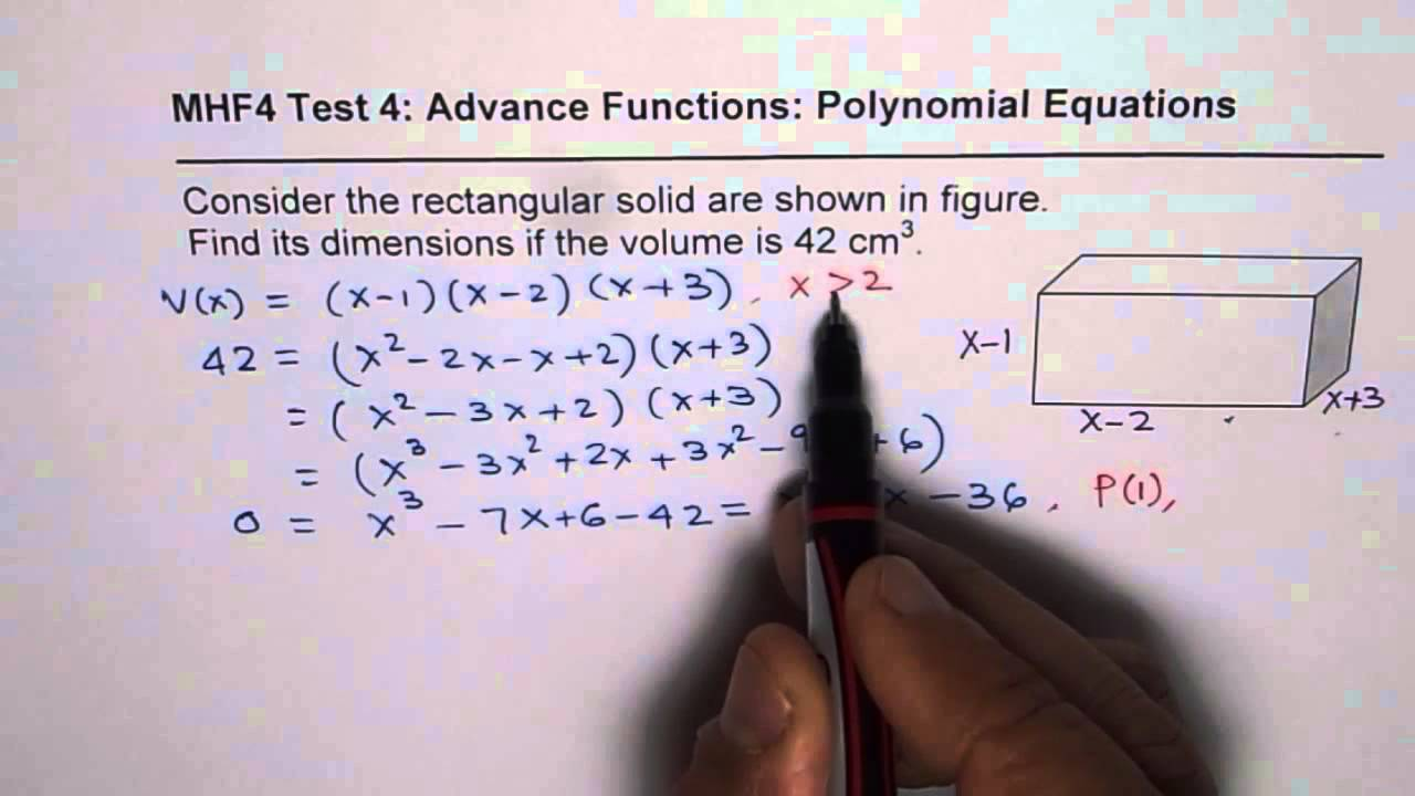 Find Dimension Of Solid Box For Given Volume Polynomial Equations  Application