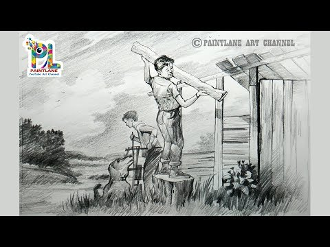 How to draw Scenery of Children at work   Pencil Sketching and Shading