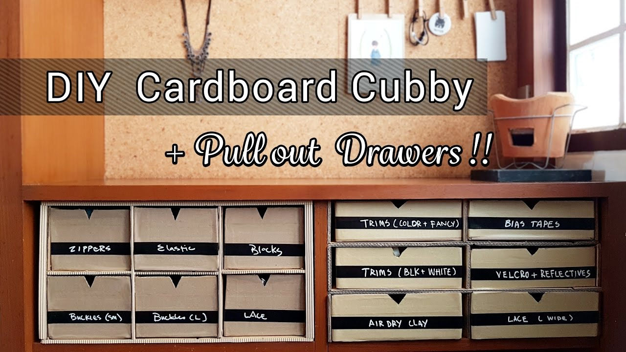 diy cardboard cubby with pull out drawers youtube. Black Bedroom Furniture Sets. Home Design Ideas