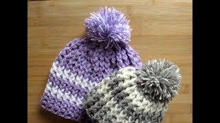 Crochet Baby Adult Kids Beanie hat Pom Pom tutorial ANY SIZE