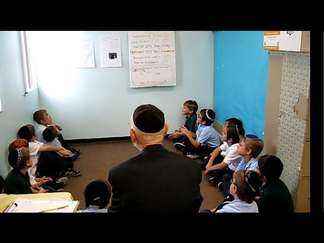 1st Grade Boys Singing Shalom Aleichem with Rabbi Elchonon Goldenberg
