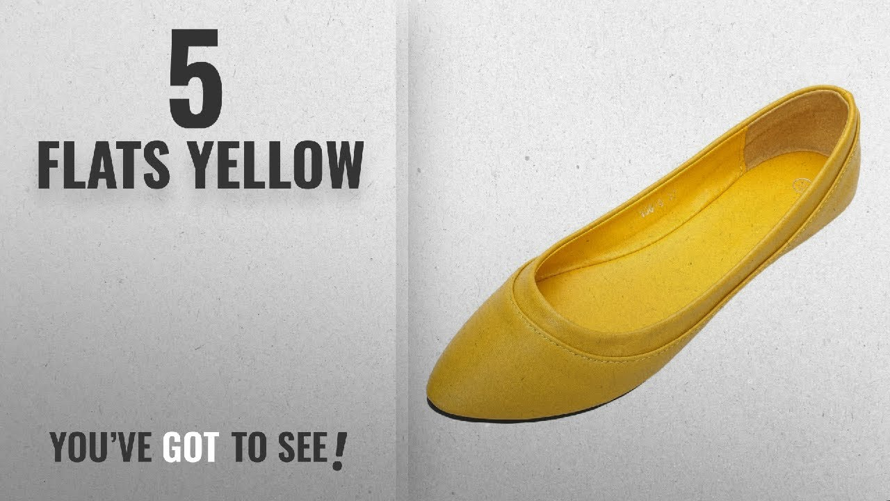 6a35a8fd0 Top 5 Flats Yellow [2018]: MAIERNISI JESSI Women's Pointed Toe Ballet Flat  Cute Casual Comfort