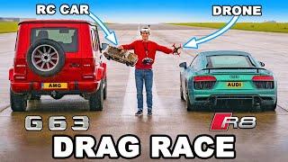 奧迪R8 vs RC遙控車 vs 無人機 vs AMG G63,直線加速賽, 動態起跑和剎車測試
