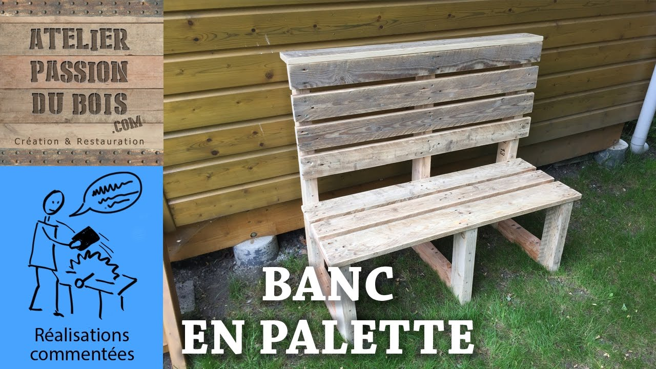 realiser un salon de jardin en palette un banc youtube. Black Bedroom Furniture Sets. Home Design Ideas