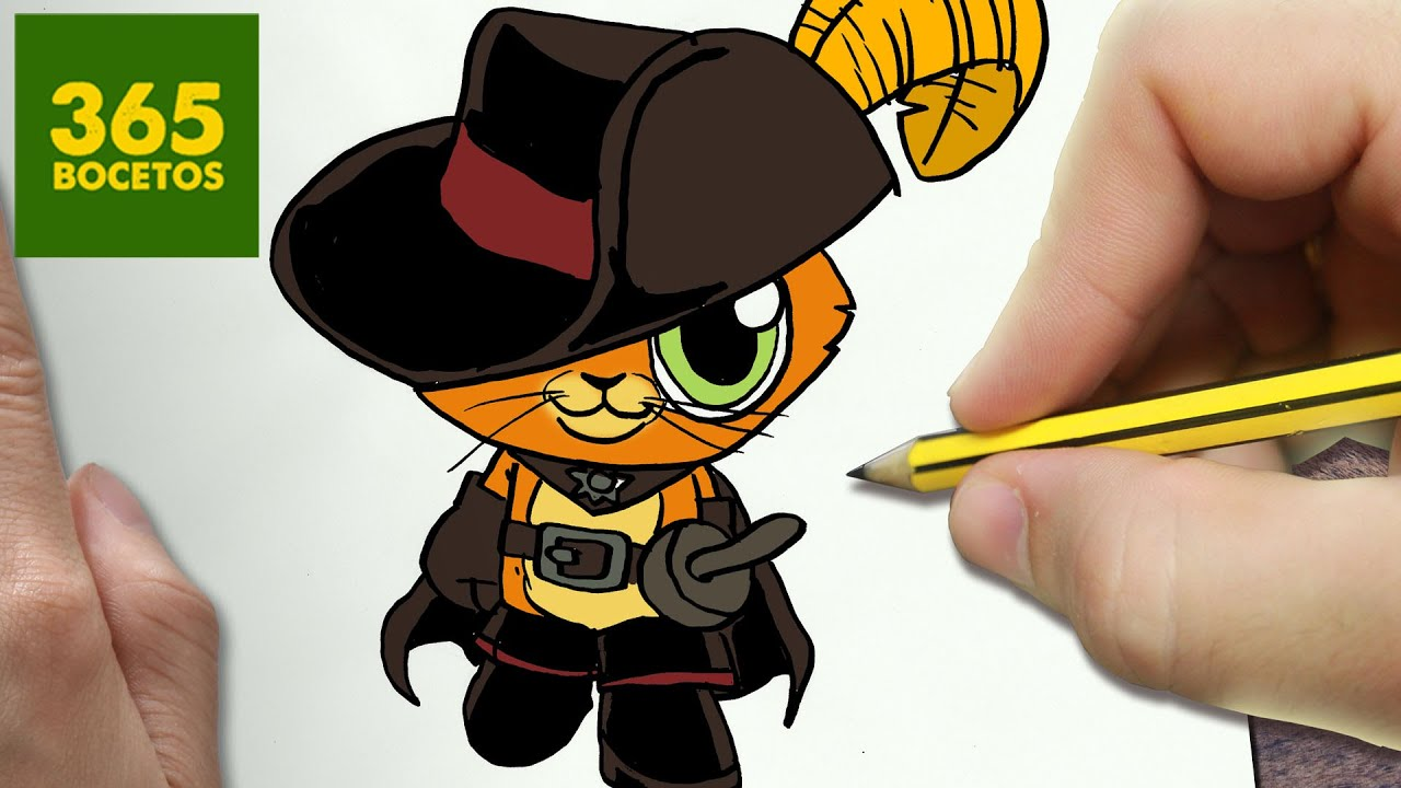 Como Dibujar Gato Con Botas Kawaii Paso A Paso Dibujos Kawaii Faciles How To Draw Puss In Boots