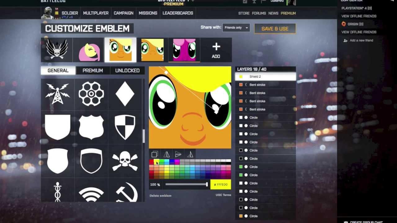 my little pony emblem battlefield 4 youtube
