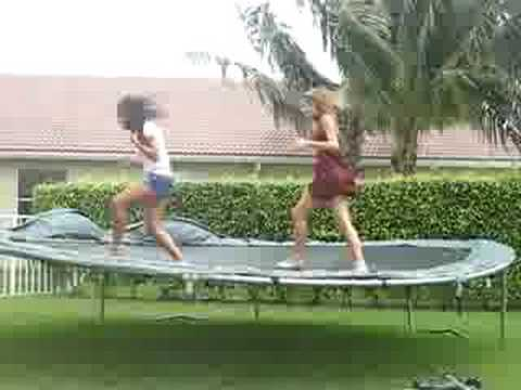 little girls break trampoline