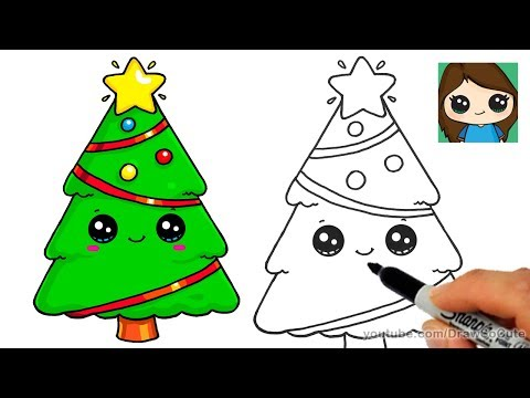 how to draw a christmas tree and star easy and cute youtube how to draw a christmas tree and star
