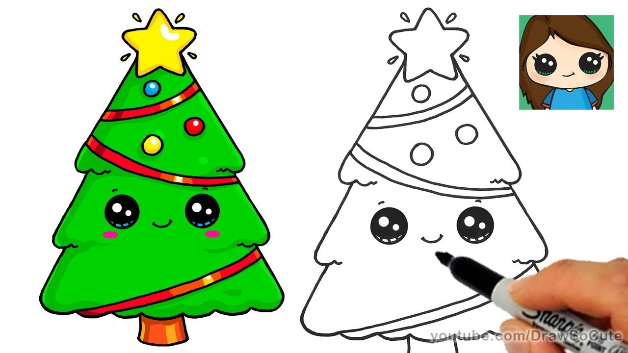 How To Draw A Christmas Tree And Star Easy And Cute Youtube