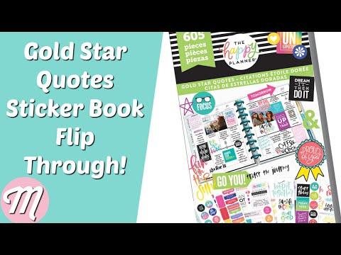 NEW Happy Planner Gold Star Quotes Sticker Book Flip Through! *Spring 2018* Release