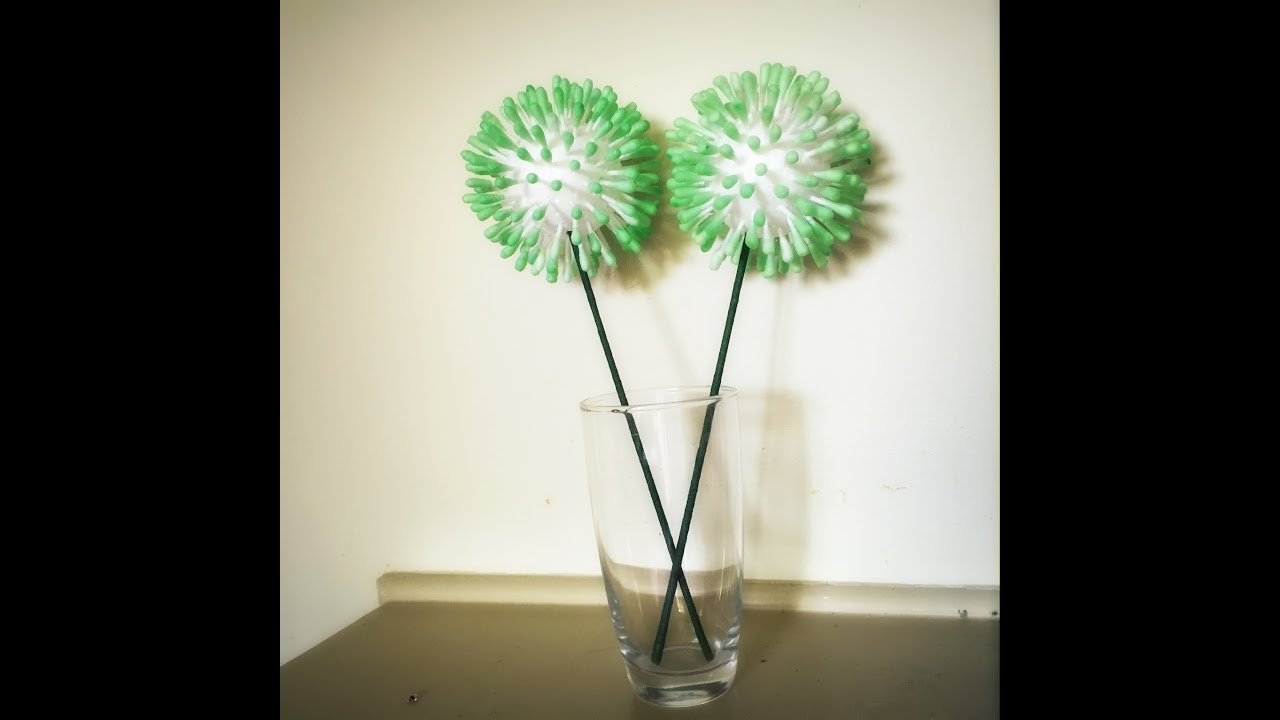 DIY Home decor:Easy q-tip /cotton bud /Cotton swabs flower/ school craft  project - YouTube