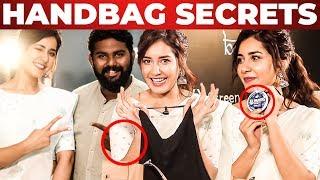 Rashi Khanna Handbag Secrets Revealed by VJ Ashiq   What's Inside the HANDBAG ??