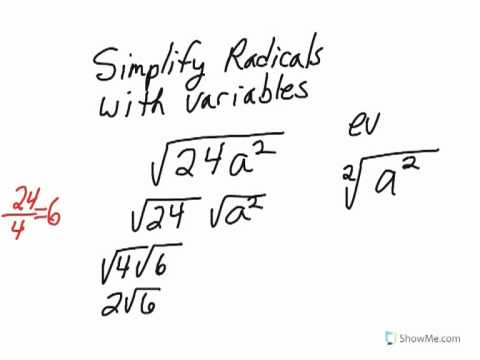 2.simplify radicals with variables that have even