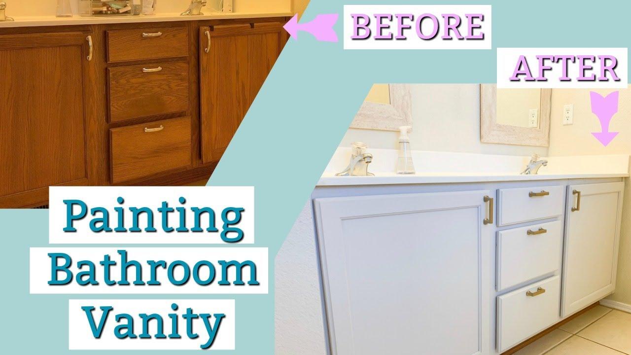 How To Paint A Bathroom Vanity Master Bathroom Vanity Makeover Grey Vanity Youtube