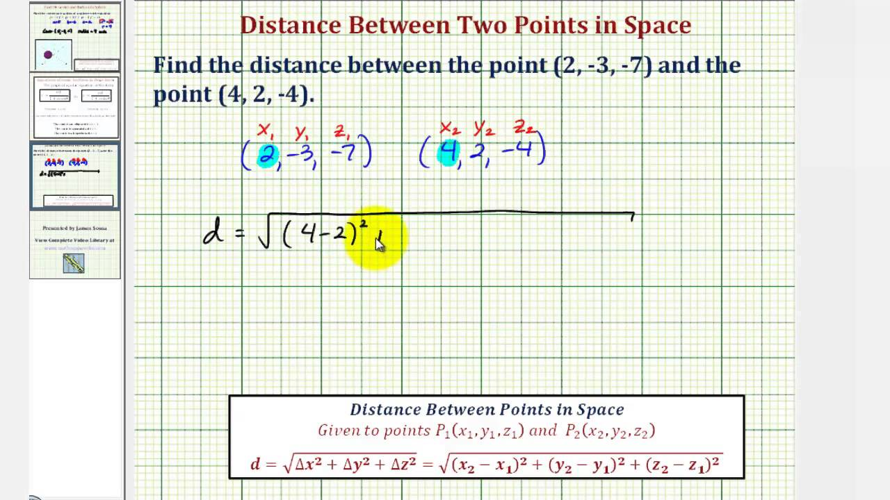 Ex: Find the Distance Between Two Points In Space - YouTube