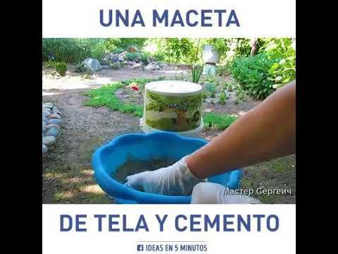 Una maceta de tela y cemento youtube for Macetas de cemento