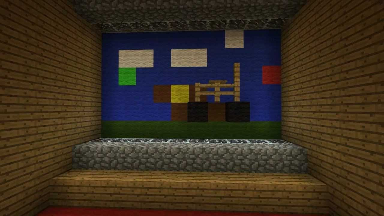 How to make a working cinema in minecraft pe