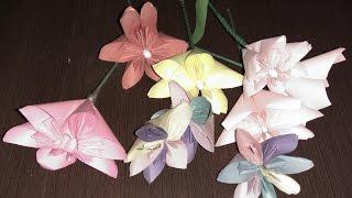 DIY! Поделки оригами цветы из бумаги! Crafts origami flowers made of paper